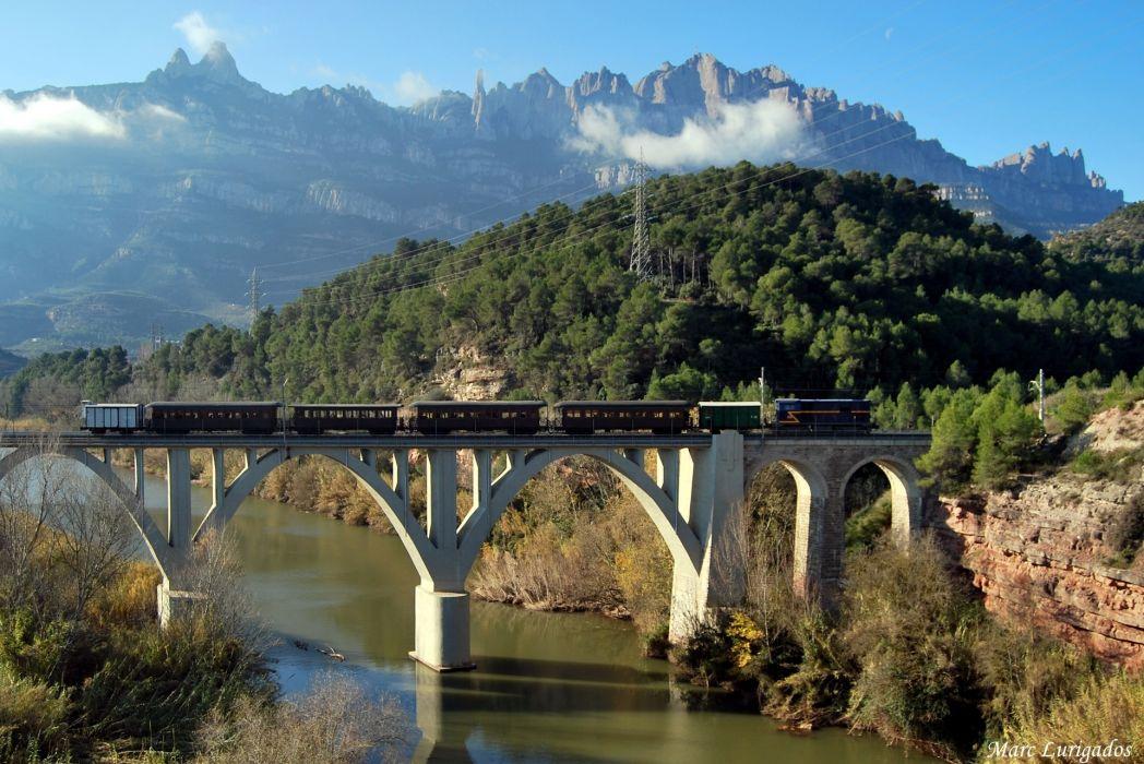 mountain river bridge structure train wallpaper