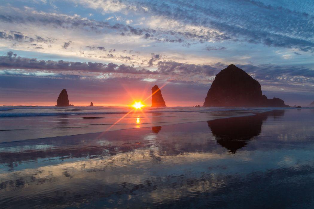 Pacific Ocean Oregon rocks sunset wallpaper