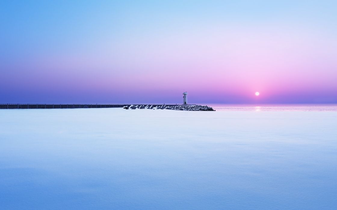 sea sunset lighthouse wallpaper