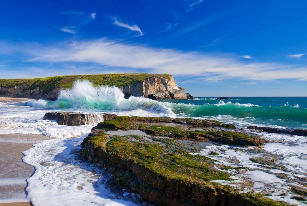 sea waves rocks sky landscape wallpaper