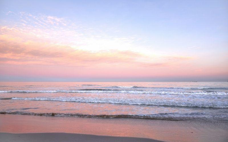 sunrise sea shore waves landscape wallpaper