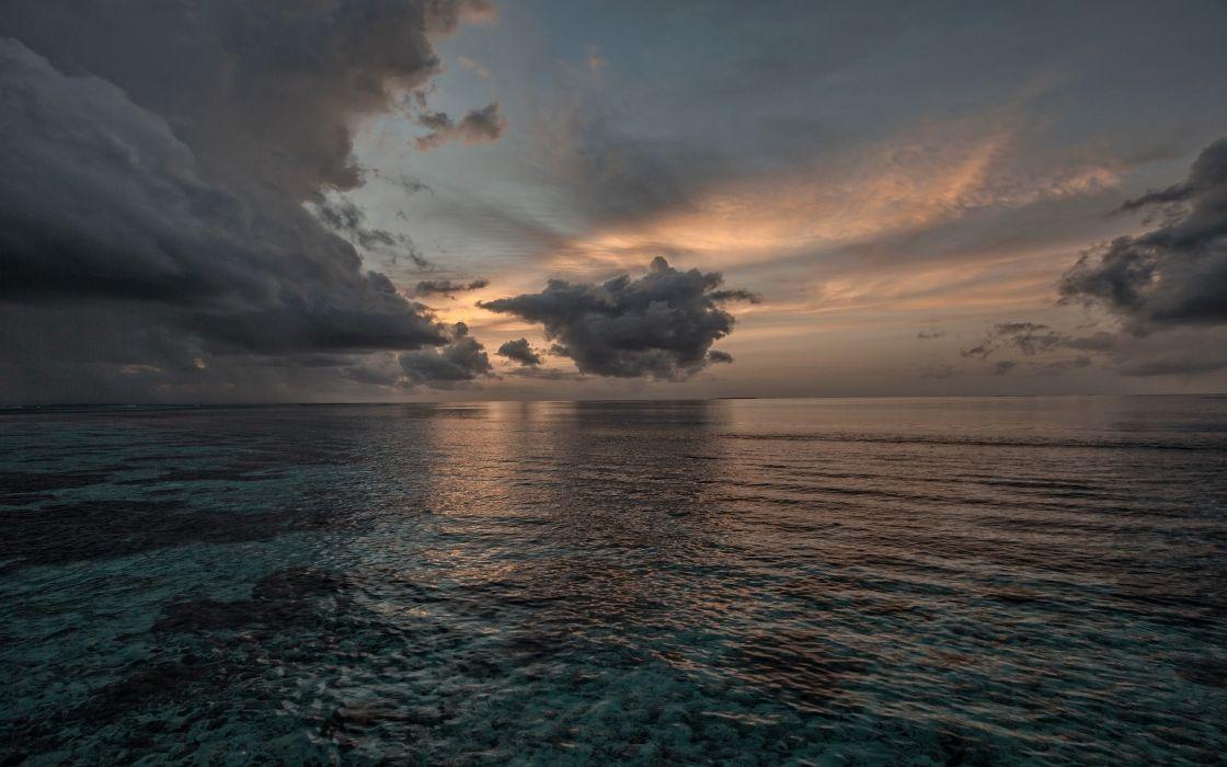 sunset sea sky ol landscape wallpaper
