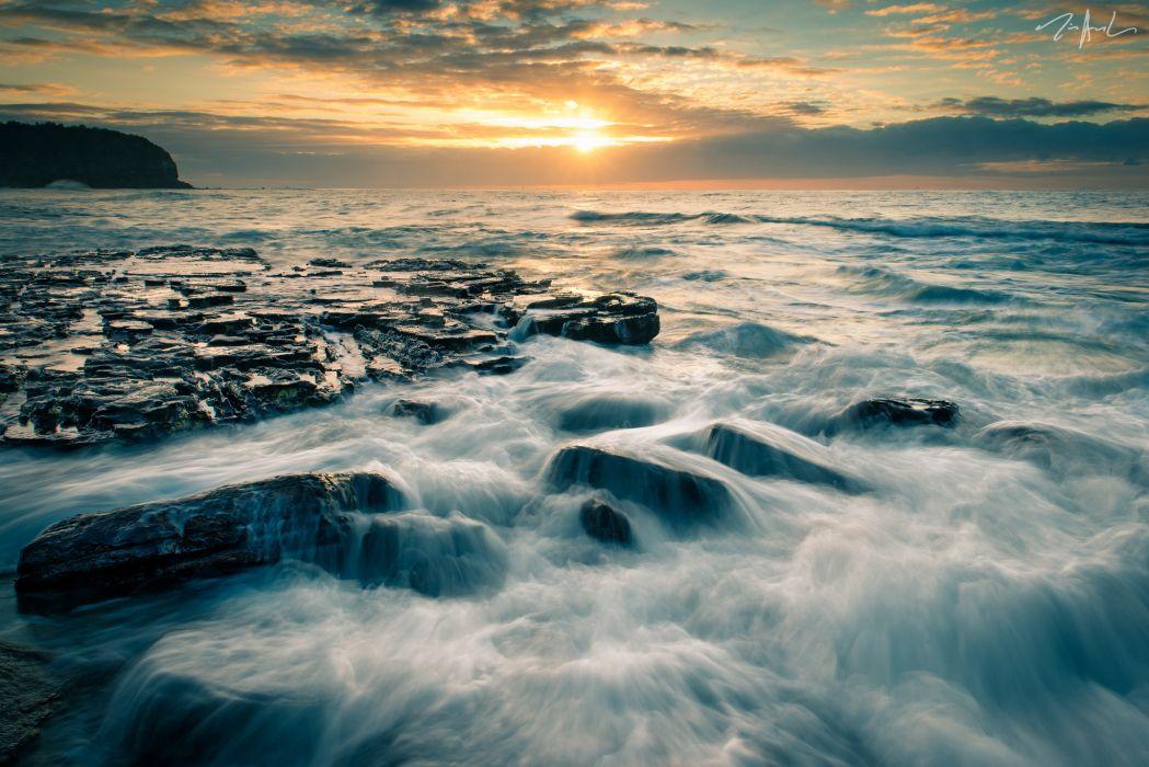 Tasman Sea Australia sunset wallpaper