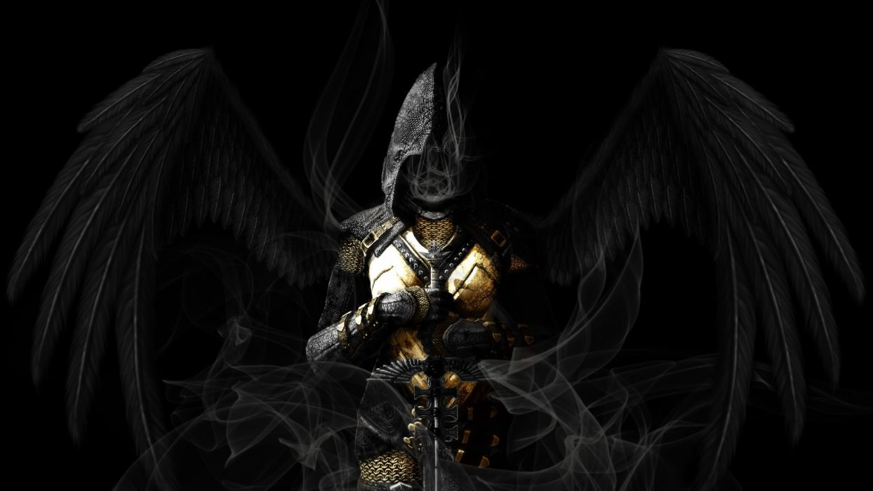 Angel Wings Black Sword gothic dark reaper grim angels wallpaper