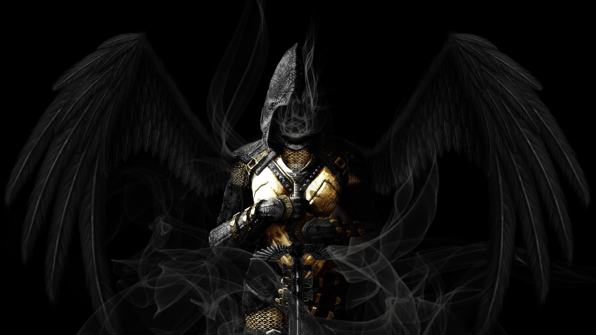 Angel wings black sword gothic dark reaper grim angels - Gothic angel wallpaper ...