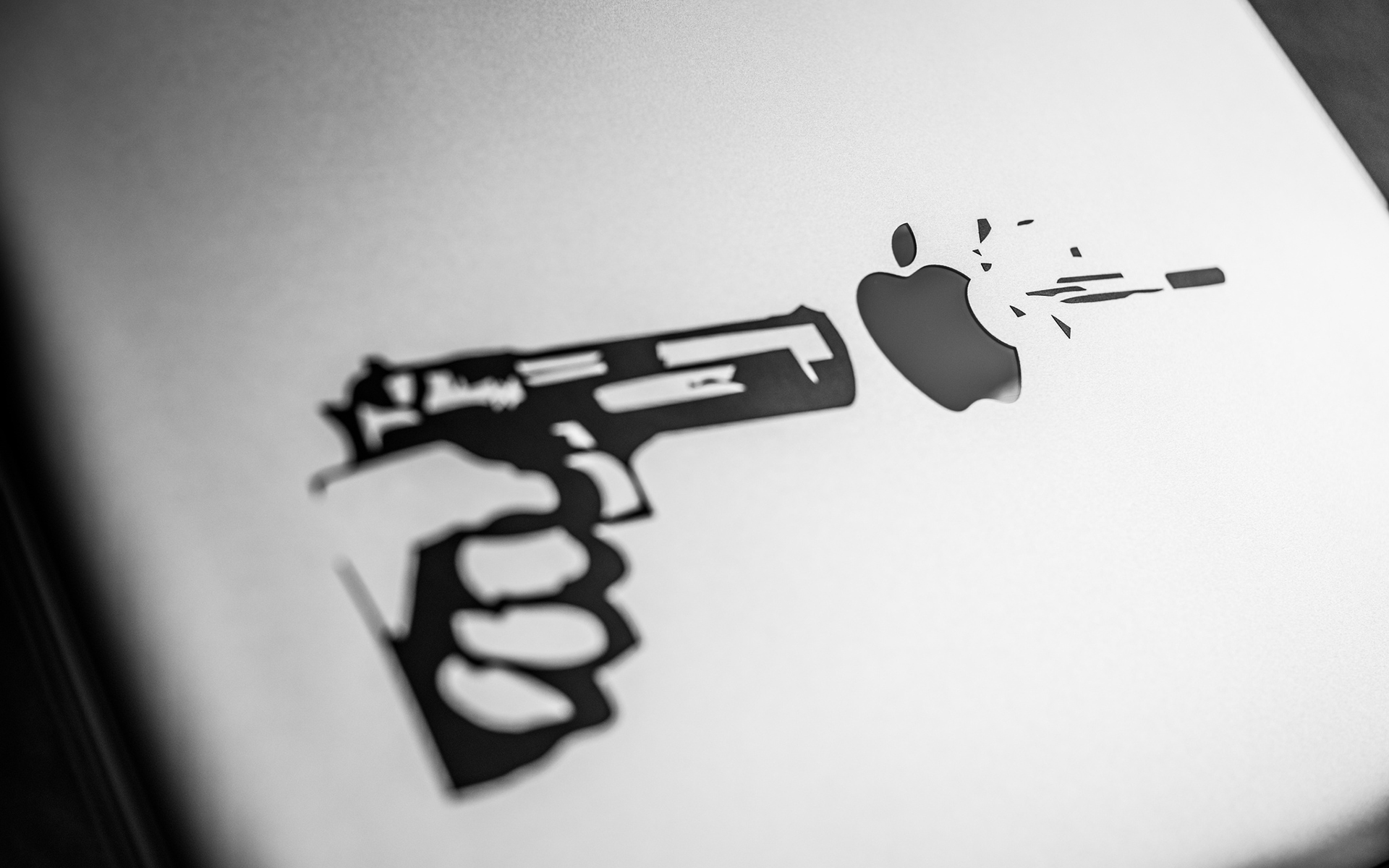 Apple BW computer sadic humor wallpaper | 1920x1200 | 112660