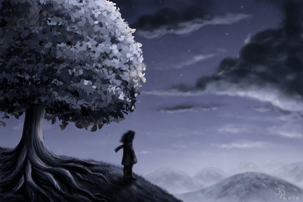 art hill tree man night clouds stars mood wallpaper