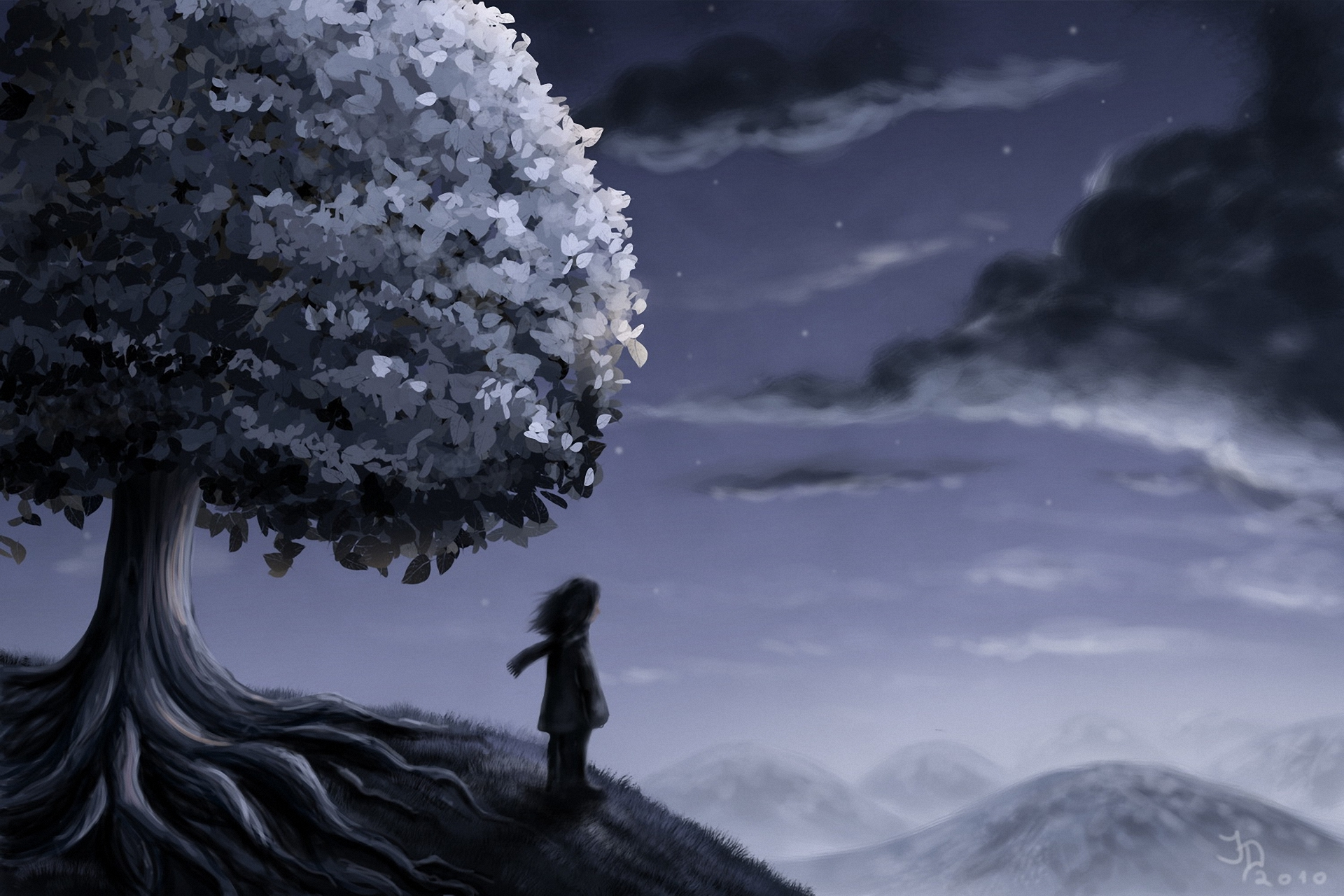 Art hill tree man night clouds stars mood wallpaper ...