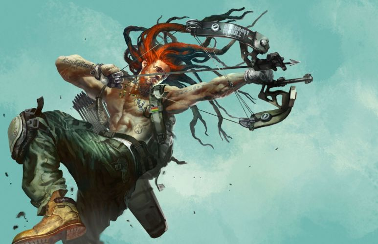 art man bow gun metal tattoo tattoos dreadlock warrior warriors wallpaper