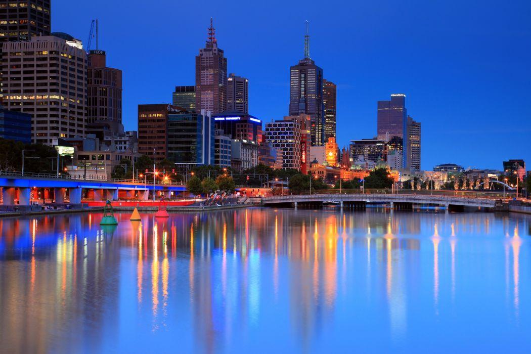 Australia Coast Houses Melbourne Cities reflection wallpaper