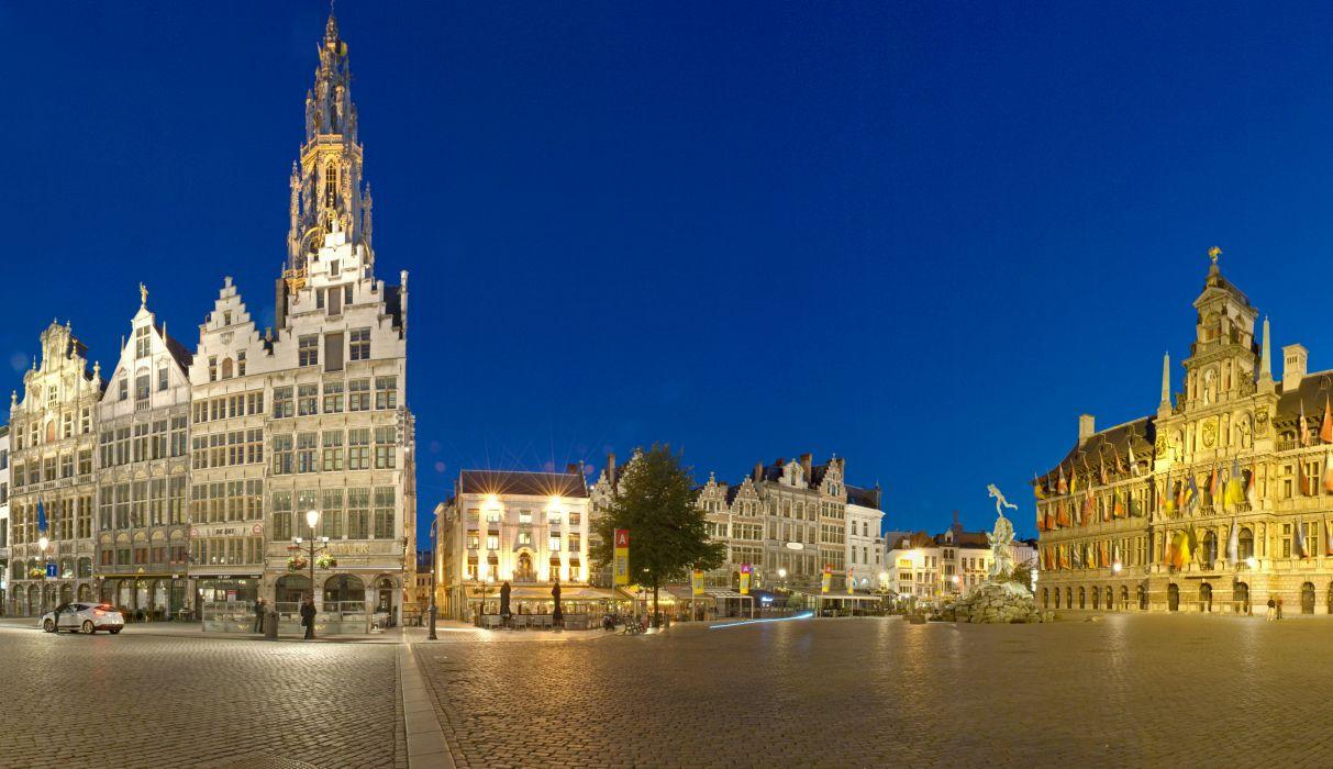 Belgium Houses Antwerp Street Pavement Night Cities wallpaper