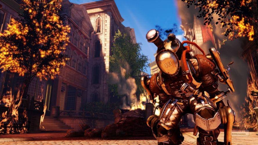 Bioshock Infinite Fire Buildings Steampunk wallpaper