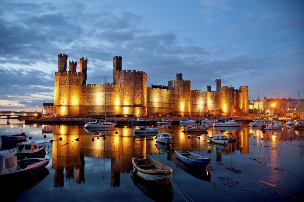 Castles United Kingdom Boats Caernarfon Cities Castle wallpaper