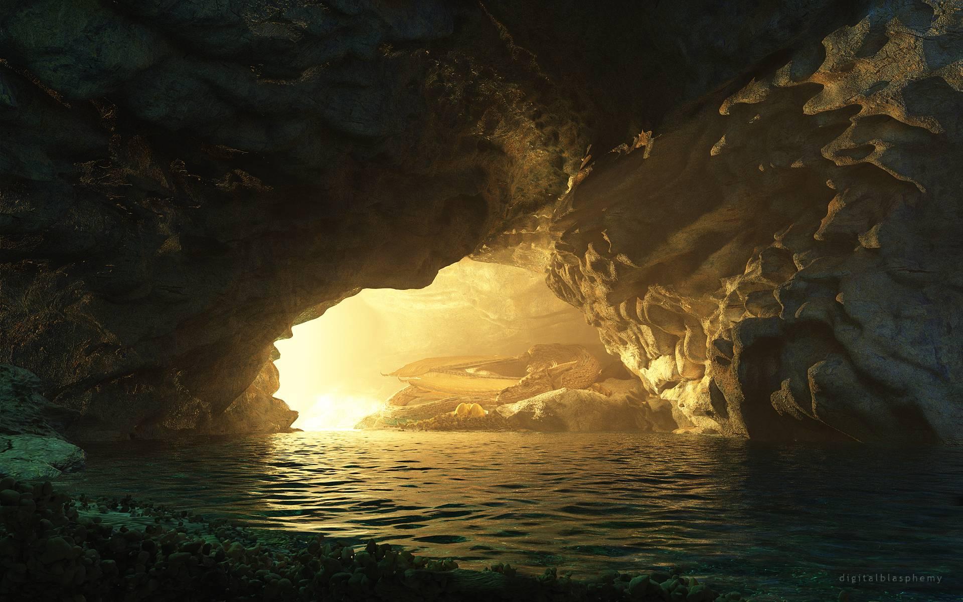 Cave Light Dragon Sleep Water fantasy wallpaper ...