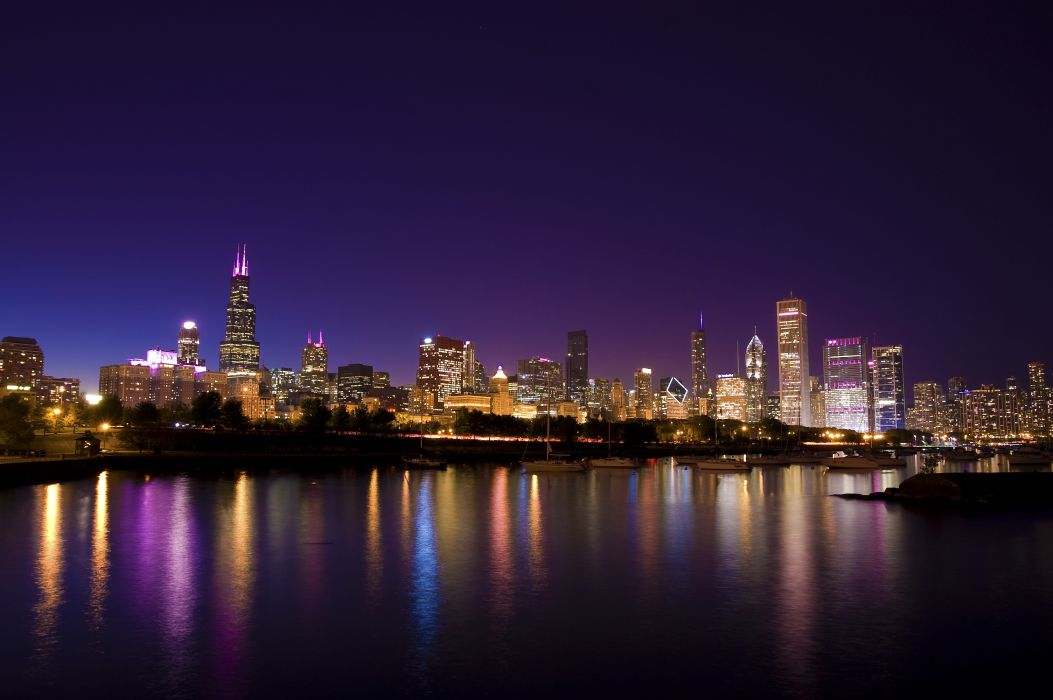 Chicago city town evening lights promenade boat park reflection wallpaper