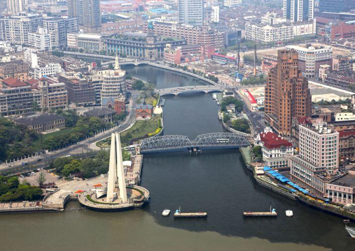 China Bridges Shanghai From above wallpaper