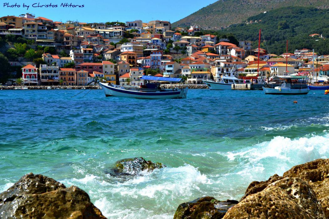 Greece Coast Motorboat Cities wallpaper
