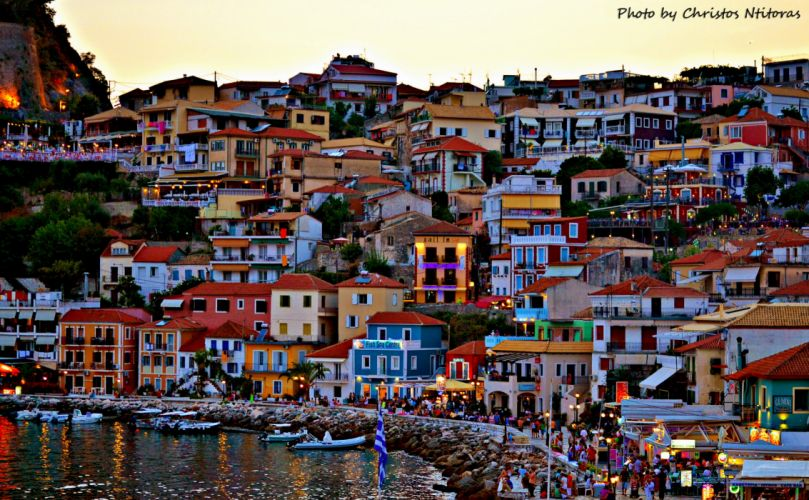 Greece Houses Coast Cities wallpaper
