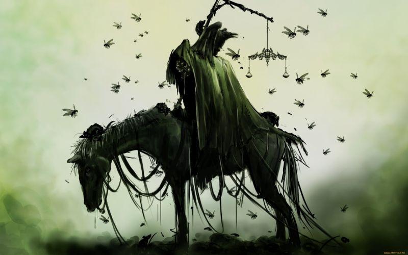 Horse Drawing Death Grim Reaper Bugs Green dark wallpaper