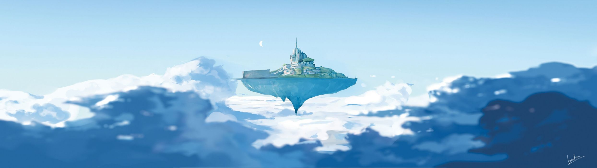 Island Floating Drawing dual multi fantasy wallpaper