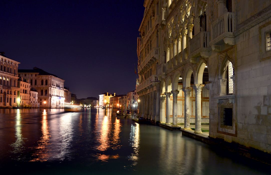 Italy Grand Canal Night Venice Cities reflection wallpaper