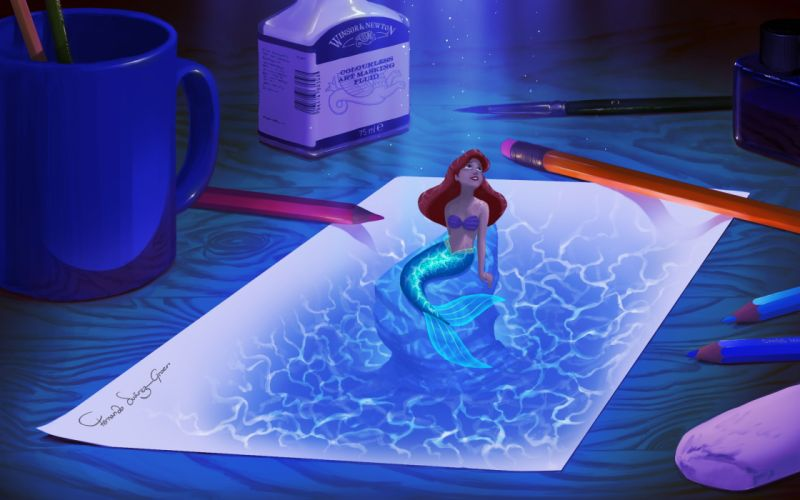 Little Mermaid Ariel Drawing Mermaid Paper wallpaper
