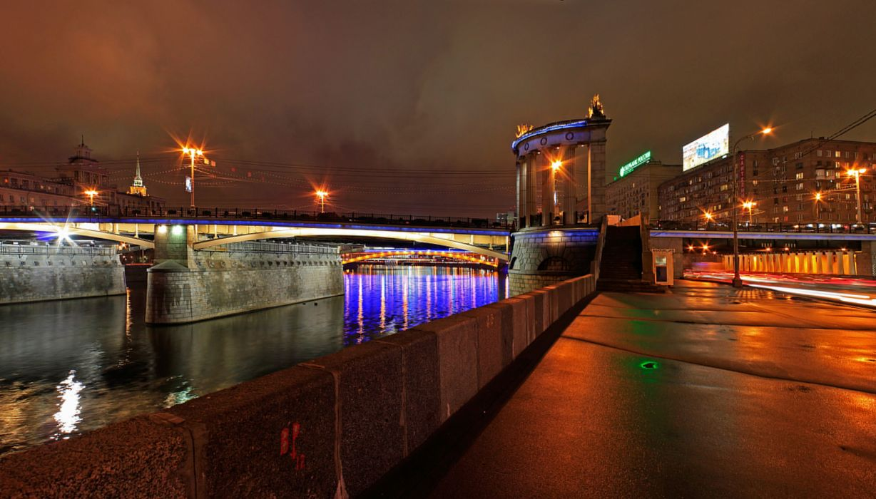 Moscow Bridges Russia Night Cities reflection wallpaper