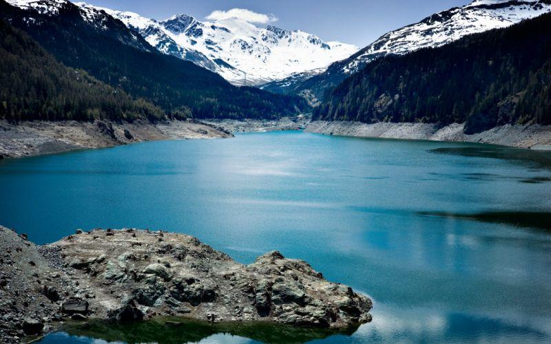 mountains sky rocks lakes t wallpaper
