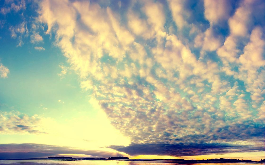 nature  sky  clouds  lake  smooth surface  sunset wallpaper