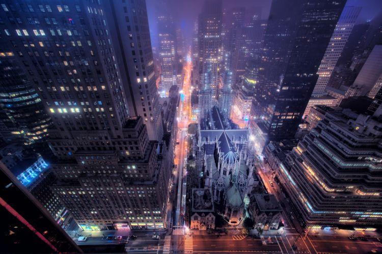 New York city street building window night road lights t wallpaper
