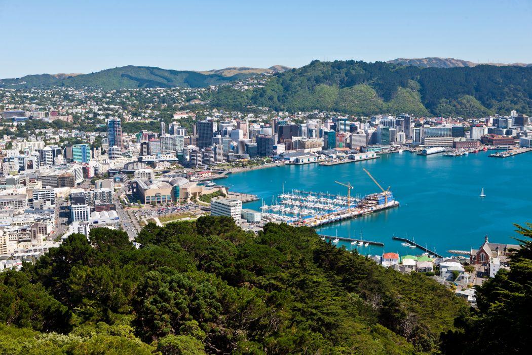 New Zealand Coast Marinas Wellington From above Cities wallpaper