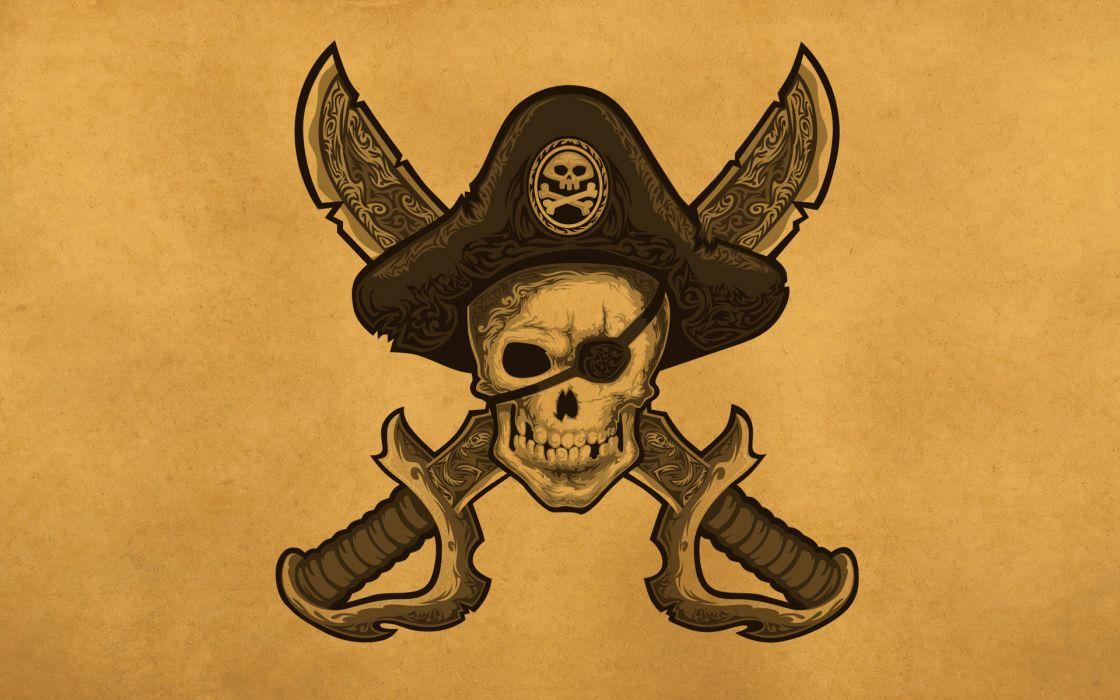 Skulls Pirates Hat Fantasy Skull Pirate wallpaper