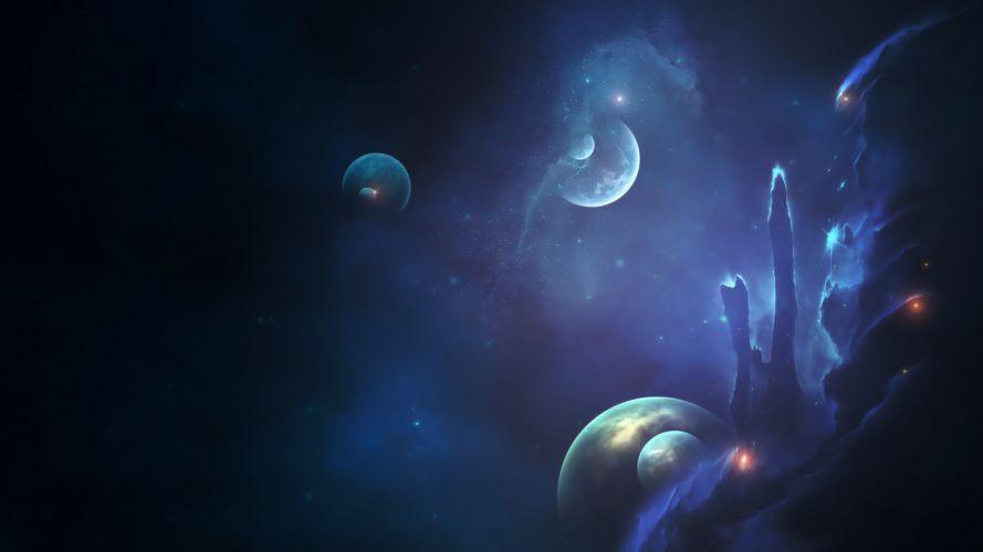 space stars planets nebula wallpaper