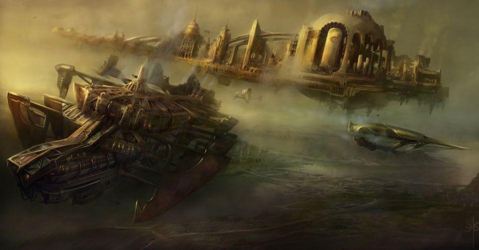 Spaceship City Floating wallpaper