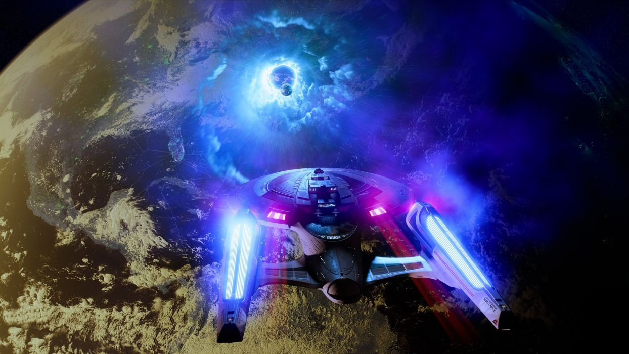 Star Trek Starship Enterprise Spaceship Warp Planet Alien Civilization wallpaper