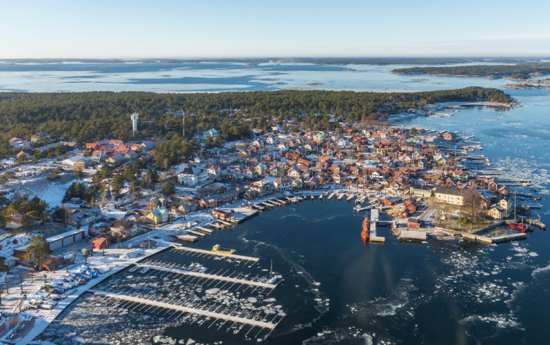 Sweden Coast Sandhamn From above Horizon Cities wallpaper