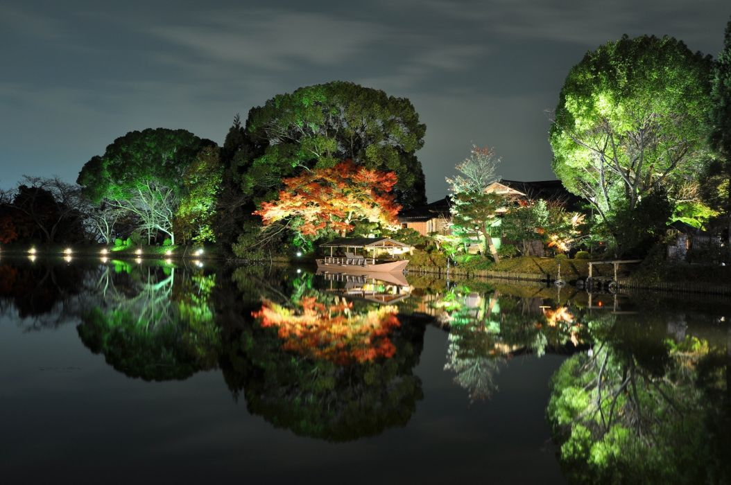 trees  river  japan  house  boat  autumn  reflection wallpaper