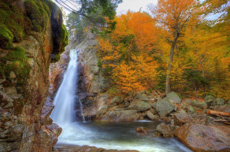 Waterfalls USA Autumn Glen Ellis New Hampshire Nature wallpaper