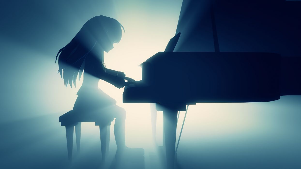 angel beats! monochrome photoshop piano tachibana kanade wallpaper