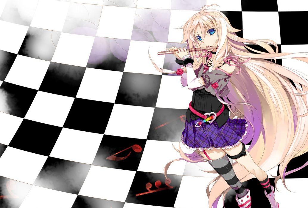 exit tunes flute fujima takuya ia instrument long hair pink hair vocaloid wallpaper