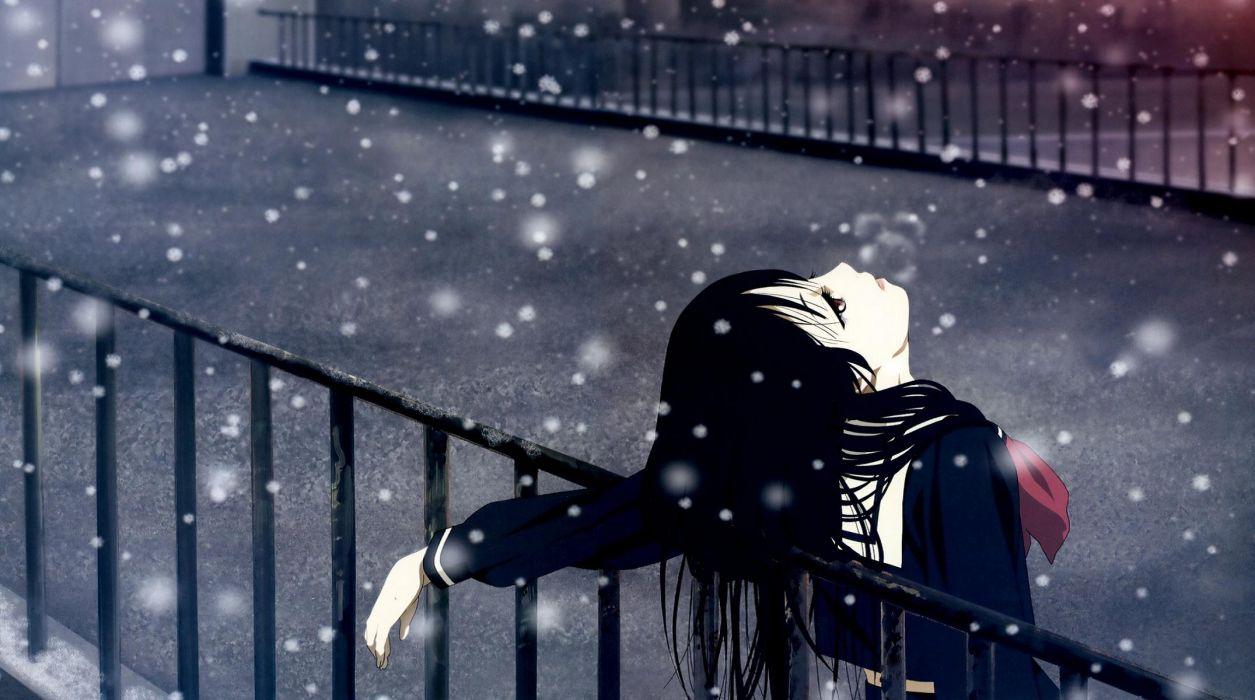 jigoku shoujo black hair brown eyes enma ai jigoku shoujo seifuku snow wallpaper