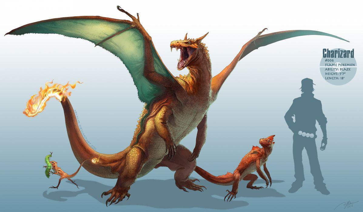 pokemon arvalis caterpie charizard charmander charmeleon pokemon realistic silhouette watermark dragon dragons fantasy wallpaper