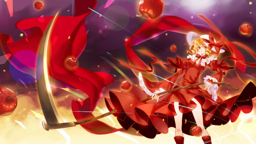 Touhou Apple Blonde Hair Bobomaster Bow Dress Elly Hat Red