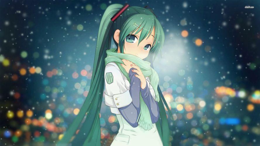 vocaloid aqua eyes aqua hair hatsune miku jpeg artifacts long hair scarf snow twintails vocaloid wallpaper