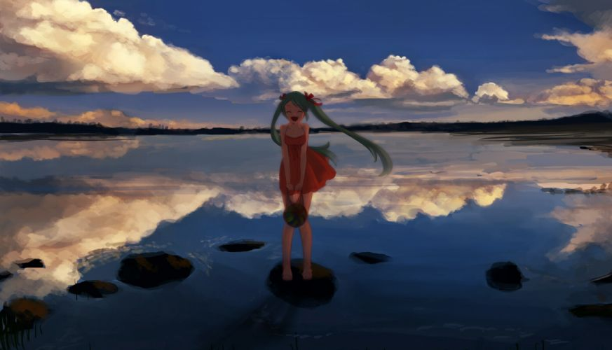vocaloid clouds dress hatsune miku sky tora jon twintails vocaloid water watermelon wallpaper
