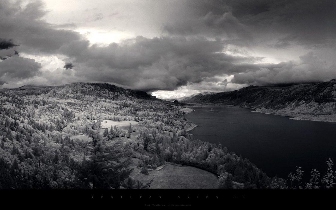 clouds landscapes winter snow monochrome wallpaper