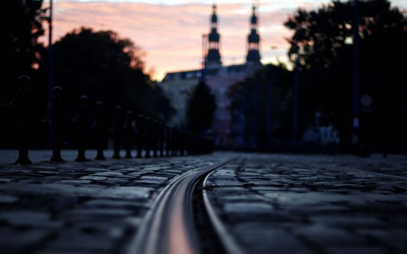 floor cityscapes streets night urban poland poznan wallpaper
