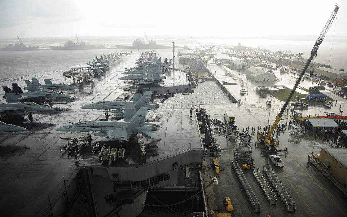 Aircraft Carrier Jets Ship Yard military wallpaper