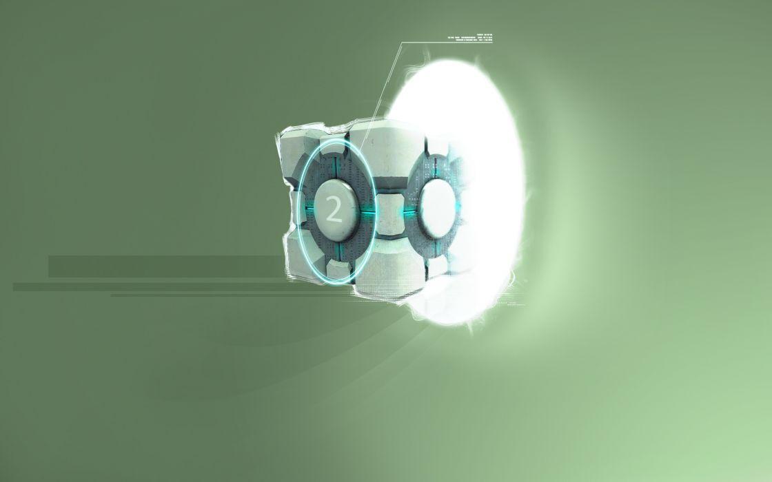 Companion Cube Portal Green wallpaper