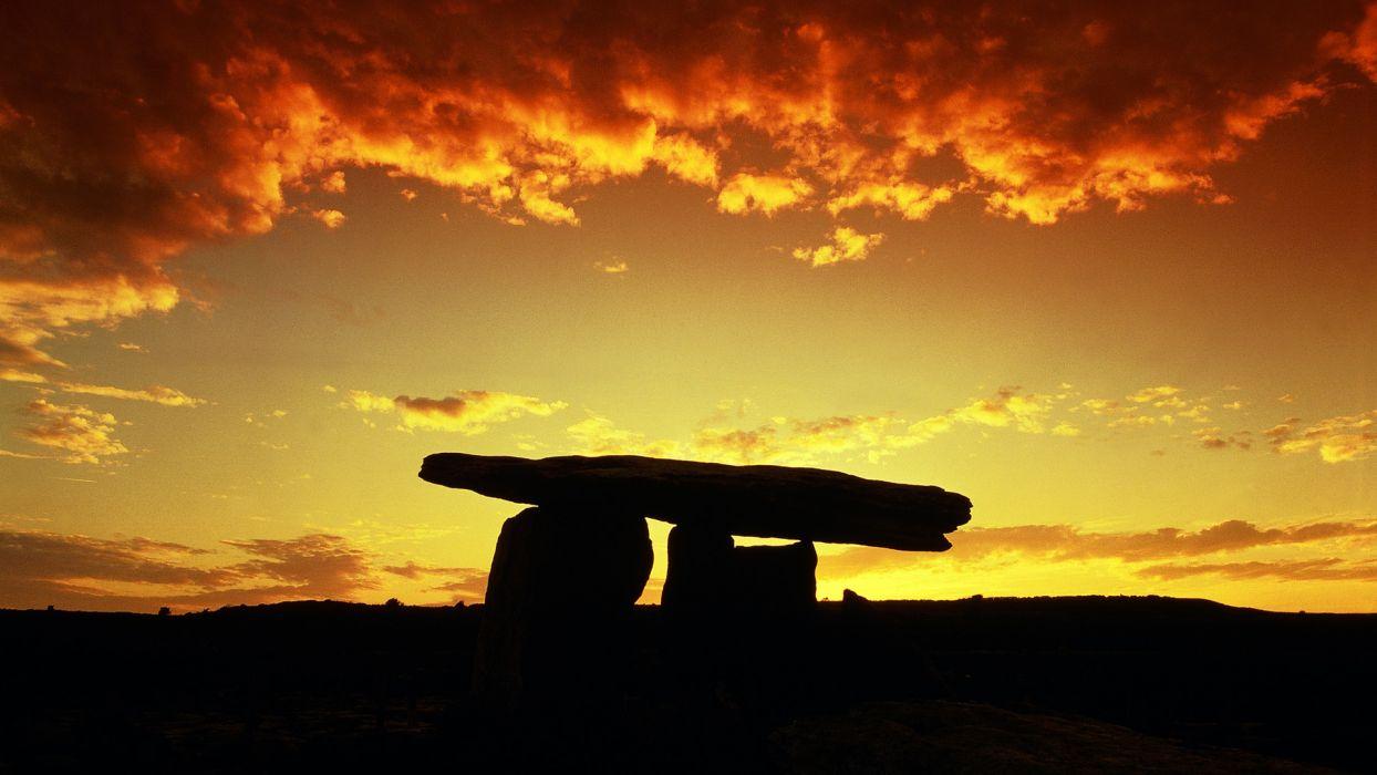Rocks Stones Sunset Backlight Clouds wallpaper